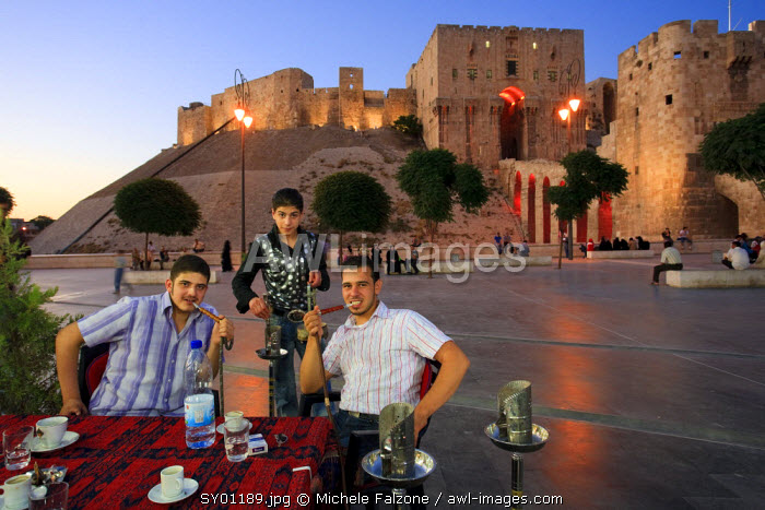 Syria, Aleppo, Old Town (UNESCO Site), Outdoor local Cafes and Citadel in the Background
