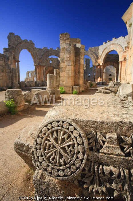 Syria, Aleppo, the Dead Cities, Ruins of the Basilica of Saint Simeon (Qala'at Samaan)