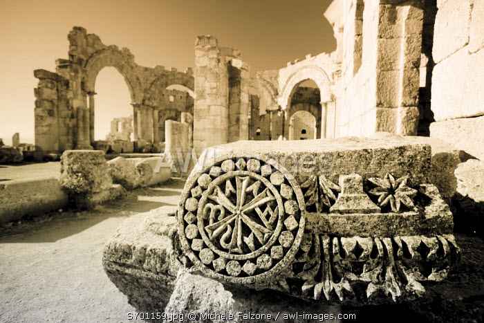 Syria, Aleppo, the Dead Cities, Ruins of the Basilica of Saint Simeon (Qala'at Samaan)