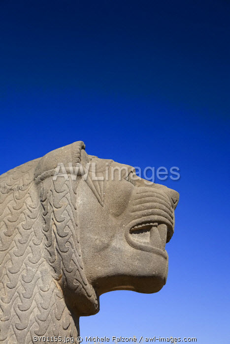 Syria, Aleppo, The 8th BC Century Hittite temple of Ain Dara, Lion Carving
