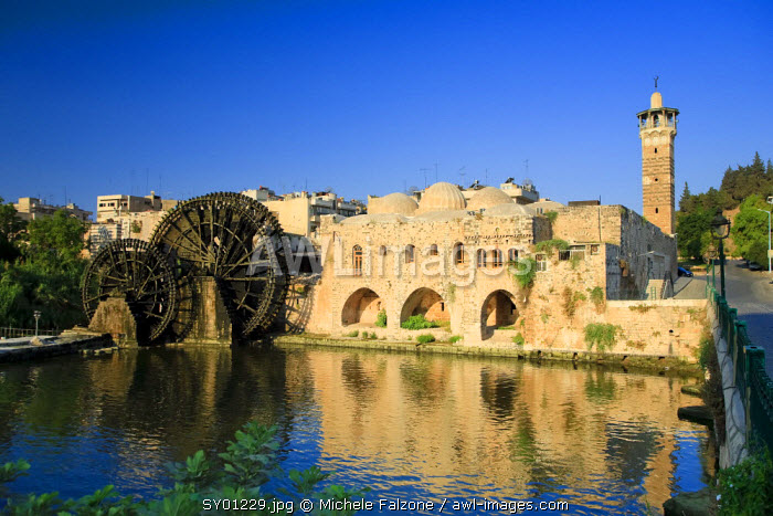 Syria, Hama old Town, An-Nuri Mosque and 13th Century Norias (Water Wheels)