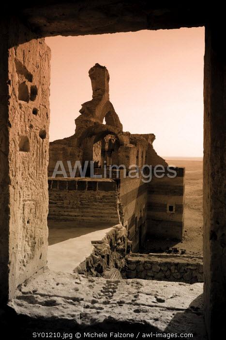 Syria, Hama surroundings, 6th Century Byzantine Sandstone Palace of Qasr ibn Wardan, Church