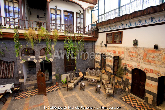 Syria, Damascus, Old, Town, Traditional Damascene House converted into luxury hotel