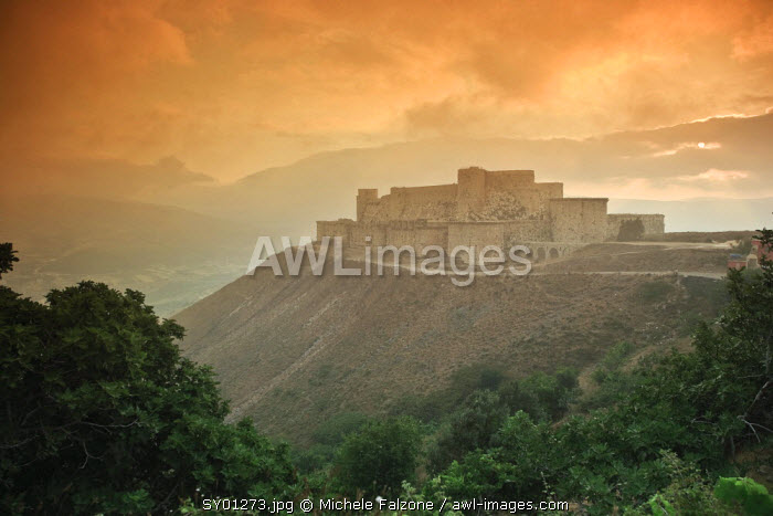 Syria, crusader's castle of Krak Des Chevaliers (Qala'at al Hosn), a UNESCO Site