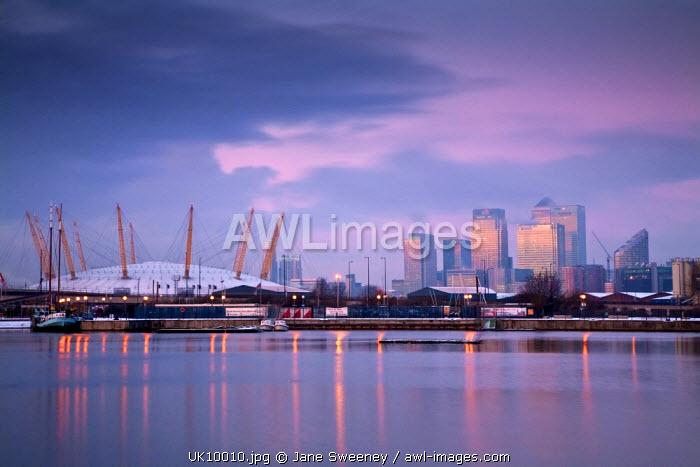 England, London, Royal Victoria Docks, O2 Arena and Canary Wharf
