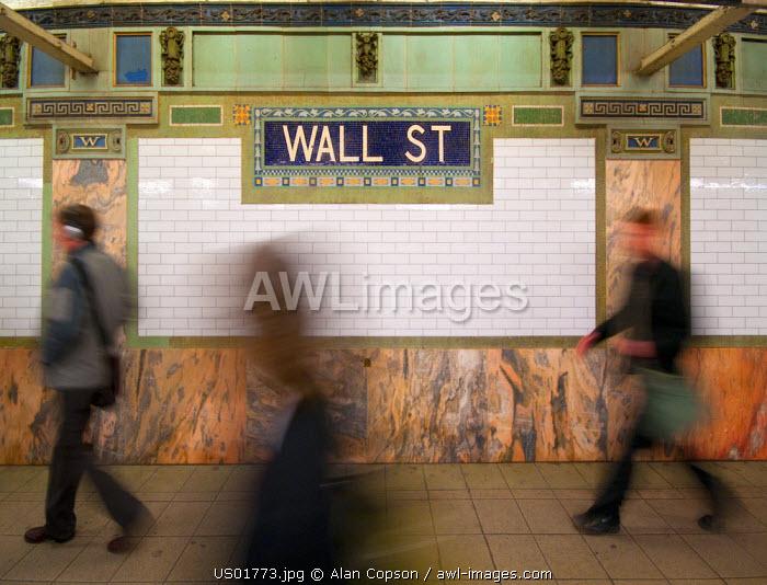 USA, New York, Manhattan, Downtown, Wall Street Subway Station