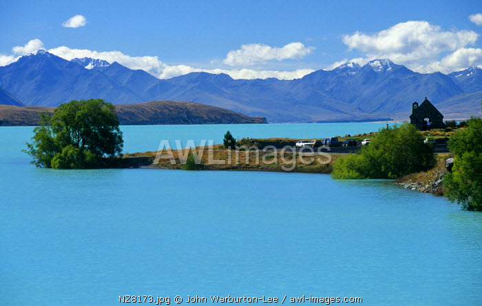 New Zealand, South Island, Lake Tekapo.  The small chapel or Church of the Good Shepherd overlooks the turquoise waters of Lake Tekapo.