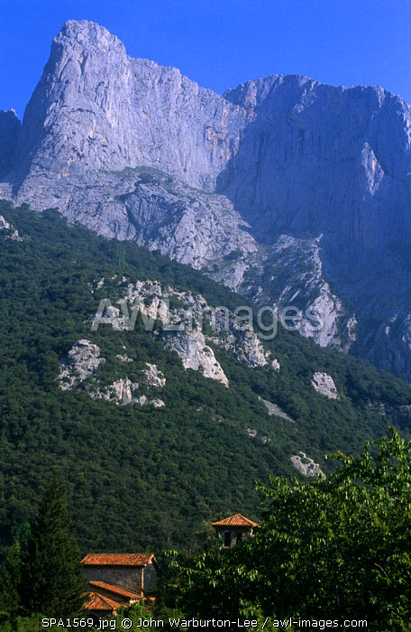 Spain, Asturias, Picos de Europa.  Pantiled roofs peep out from the trees in stunning mountain scenery