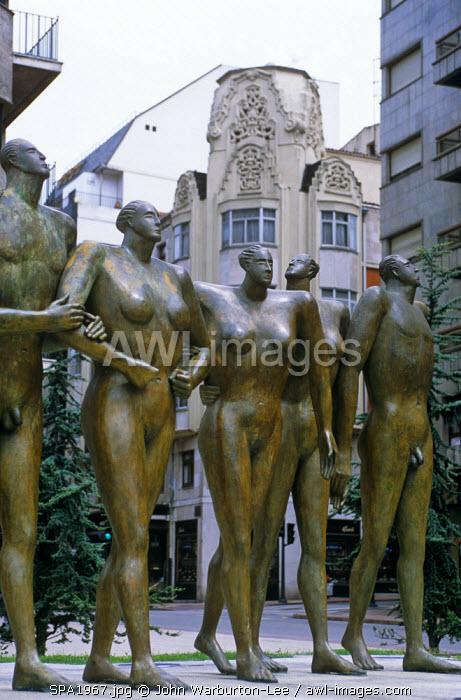 Spain, Asturias, Oviedo. A modern sculpture in the city of Oviedo.
