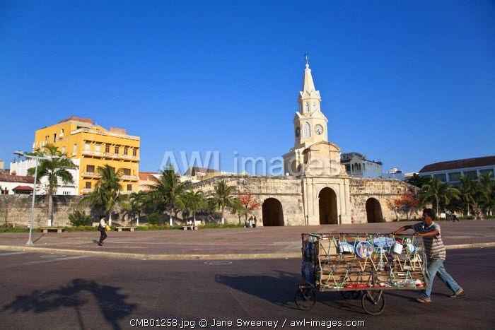 Colombia, Bolivar, Cartagena De Indias, Plaza de la Paz, Porta del Reloj  - the main gateway to the old walled city and Clocktower