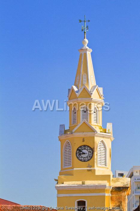Colombia, Bolivar, Cartagena De Indias, Plaza de La Coches, previously known as Plaza de Esclavo - Slaves Plaza,  Clock Tower