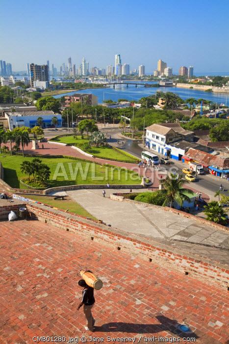 Colombia, Bolivar, Cartagena De Indias, San Felipe Castle - Castillo de San Felipe de Barajas, View from Castle looking towards Bocogrande