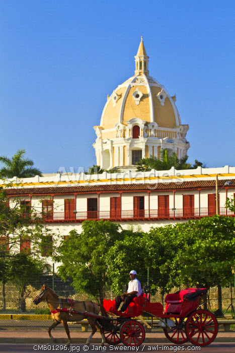 Colombia, Bolivar, Cartagena De Indias, Horse carts & Old walled town, The Naval college and Dome of San Pedro Claver Church