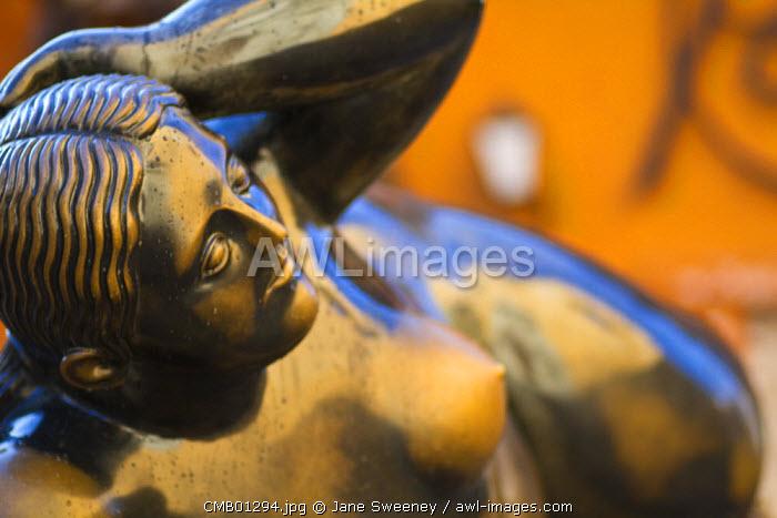 Colombia, Bolivar, Cartagena De Indias, Santa Domingo Plaza, Fernando Botero sculpture -Gerttrudis - the fat lady