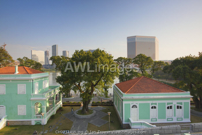 Colonial villas of House Museum with the Venetain hotel in background, Taipa, Macau, China