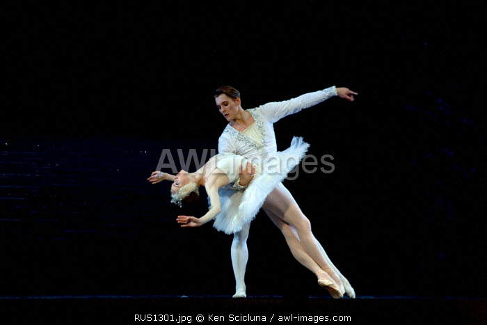 Russia; St.Petersburg; Prince Sigfried dancing with the Swan in the performance of Tchaikovsky's 'Swan Lake'