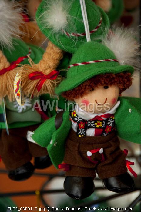 Austria, Wachau Valley, Melk. Historic downtown Melk. Typical Austrian souvenir doll.
