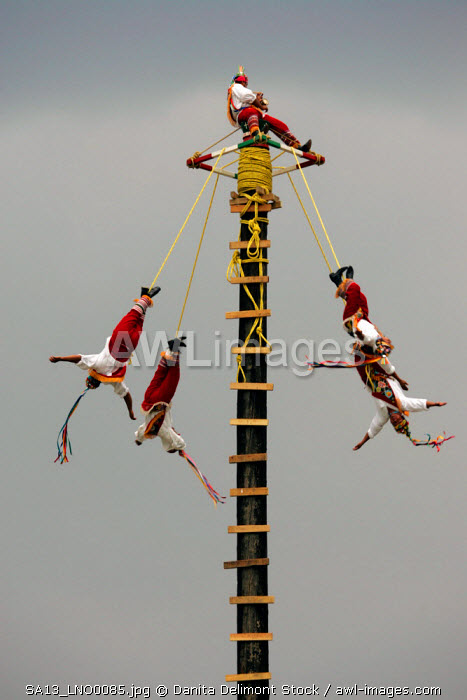 Los Voladores de Papantla, a group performing traditional Mexican Indian ceremonies, during a performance in Tule, Mexico