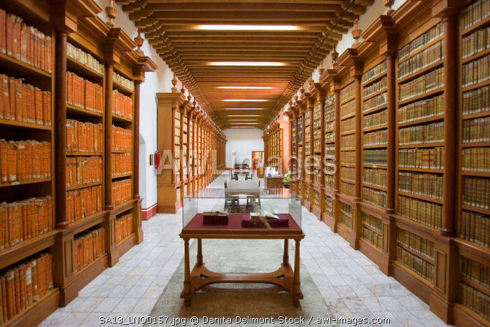 Mexico, Zacatecas. Library of ancient books in Museo Pedro Coronel, a museum of art in the center of Zacatecas, a UNESCO World Heritage site