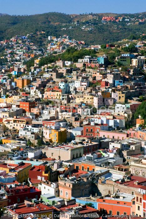 Mexico, Guanajuato. Cityscape of Guanajuato, a UNESCO World Heritage site