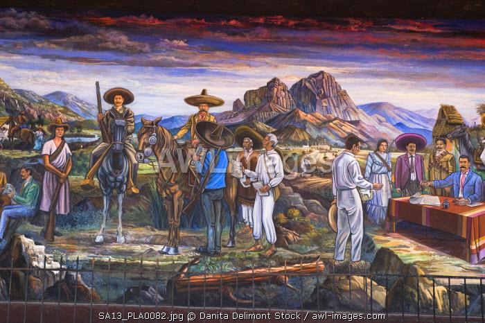 Mexico, Anenecuilco. El Caudillo del Sur (The Southern Caudillo), mural by Roberto Rodriguez Navarro, Casa-Museo Emiliano Zapata Museum