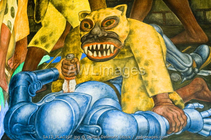 Mexico, Cuernavaca. Detail of La Conquista (The Conquest), mural by Diego Rivera, Palace of Cortes