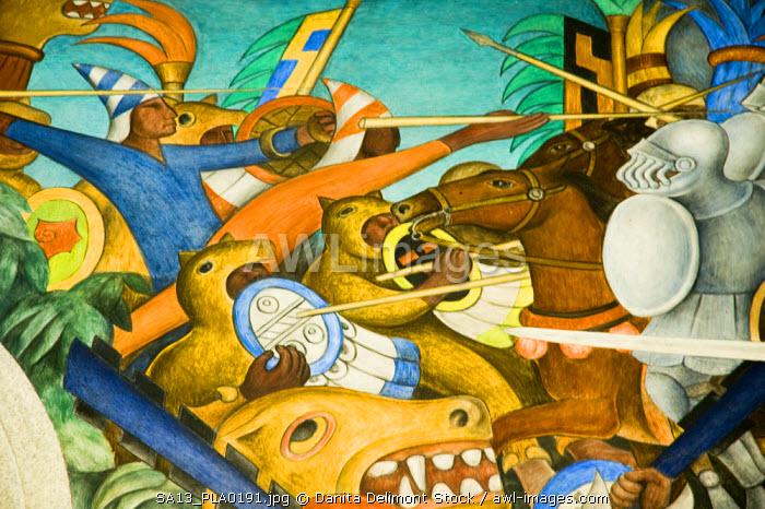 Mexico, Cuernavaca. La Conquista (The Conquest), mural by Diego Rivera, Palace of Cortes