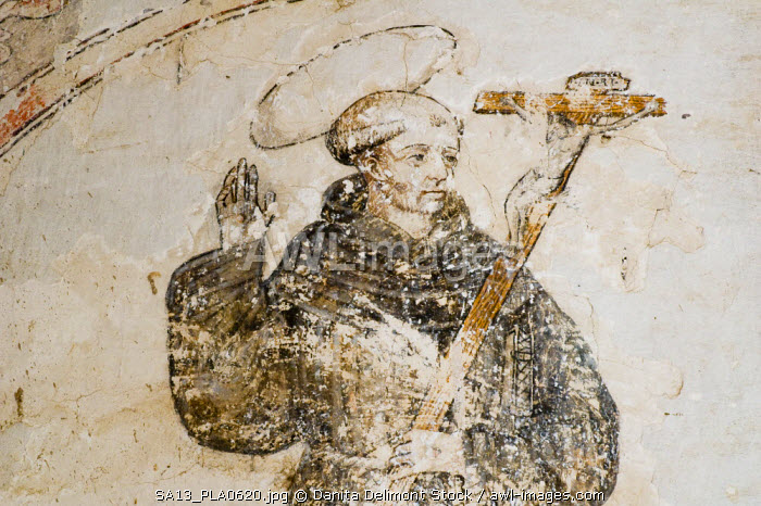 Mexico, Yecapixtla. 17th century fresco at the Augustinian Convent of San Juan Bautista