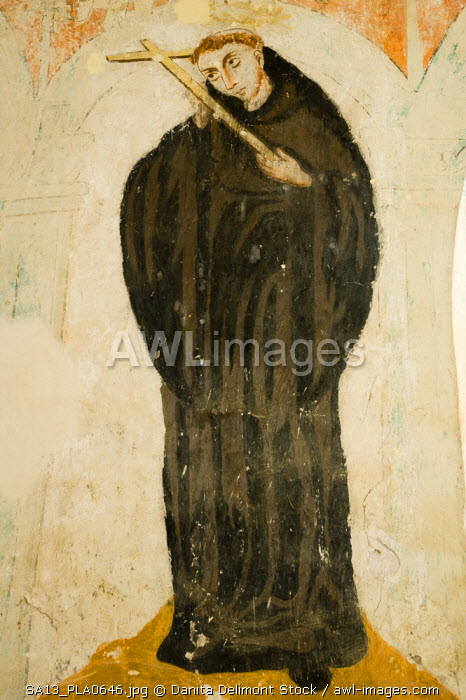 Mexico, Zacualpan de Amilpas. 17th century fresco of a saint at the Augustinian Convent of La Immaculada Concepcion