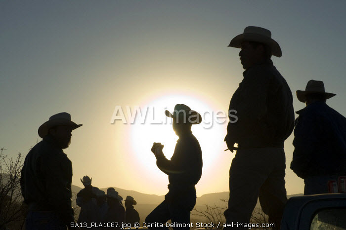 Mexico, Chalchihuites. Charros in the late afternoon sun