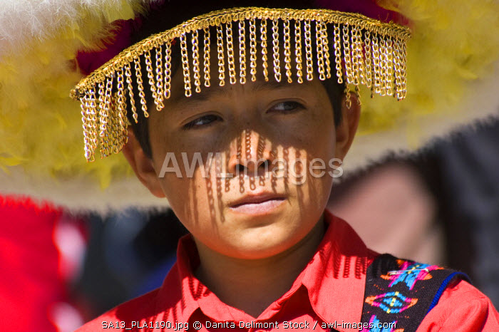 Mexico, Plateros. Chinero dancer by the Sanctuary of the Holy Child of Atocha