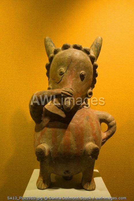 Mexico, Zacatecas. Clay figurine, pre-colombian art collection at the Pedro Coronel Museum (Ex-Colegio de San Luis Gonzaga)
