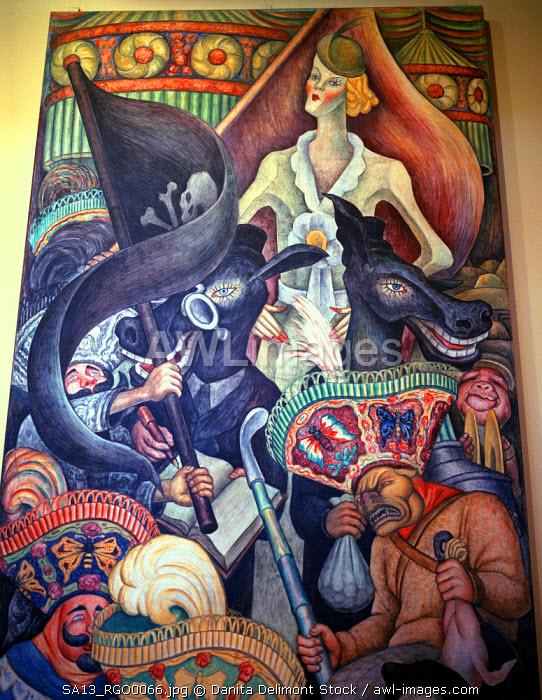 Mexico. Murals of Diego Rivera (1886-1957) in the Balacio Bellas Artes/Fine Arts Palace.