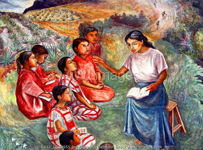 Mexico, Oaxaca. Arturo Garcia Bustos's murals adorn the walls of the Presidential Palace.