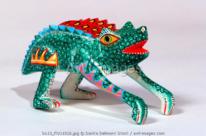 Mexico, Oaxaca, Tilcajete, San Martin. Traditional arts: alebrijes, figure carvings, copal wood
