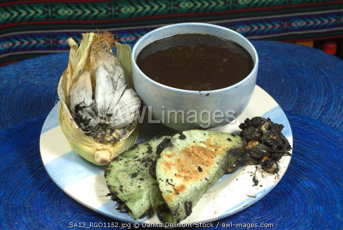 Huitlacoche or blue corn fungus (Ustilago maydis) is a delicacy in Mexico, made into soups, and fried in tortillas. In the US it is known as corn smut and is seen as a detriment to corn cultivation.