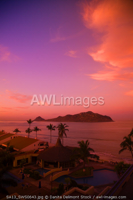 Early morning light, aerial view of Deer Island from Golden Zone Hotel, Mazatlan, Sinaloa State, Mexico