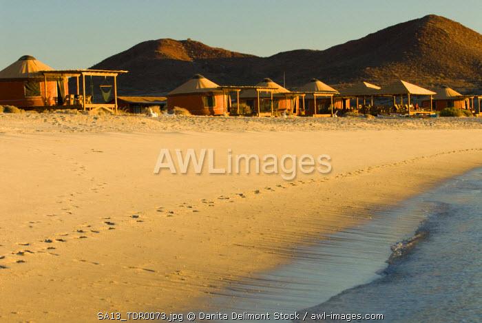 Mexico, Baja California, Bahia de las Animas.  Eco tourism compound on secluded beach