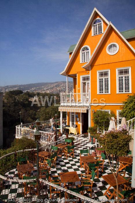 Chile, Valparaiso. Brightly colored Hotel Brighton. (UNESCO World Heritage Site)