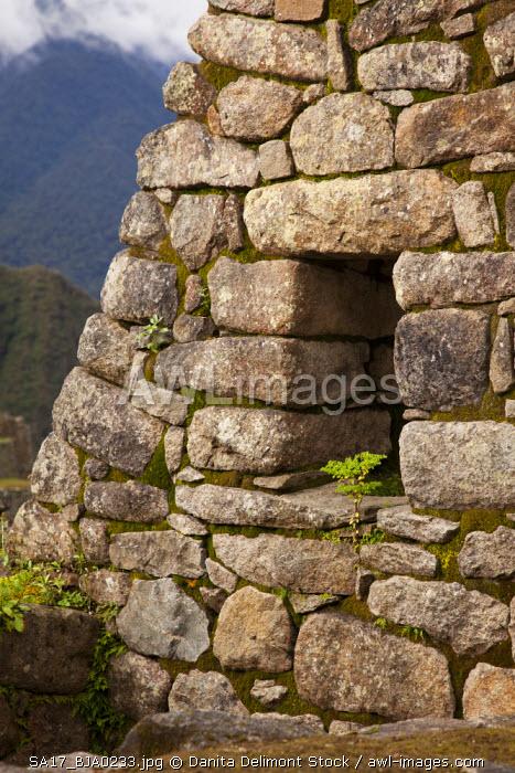Peru, Machu Picchu. Close-up of stone house ruins. (UNESCO World Heritage Site)