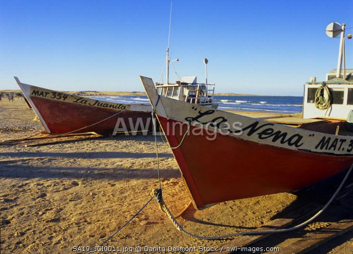 Uruguay, Cabo Polonio, boats on beach