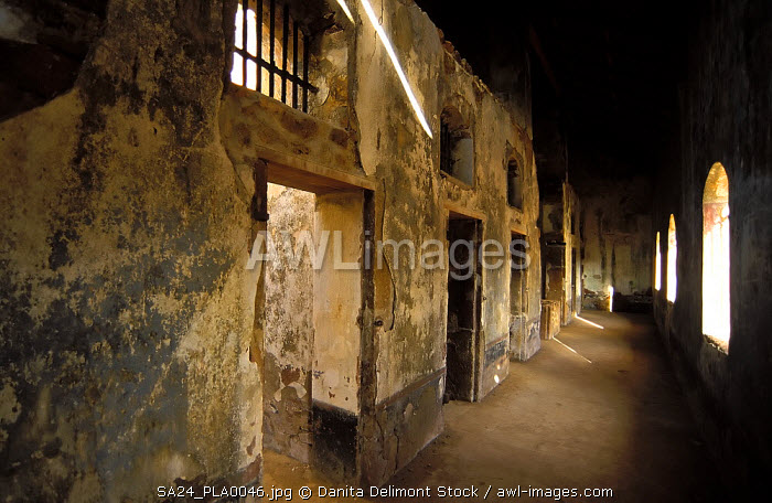 Remains of a prison block on Ile Royale, French penal colony on Devil's Island, French Guiana