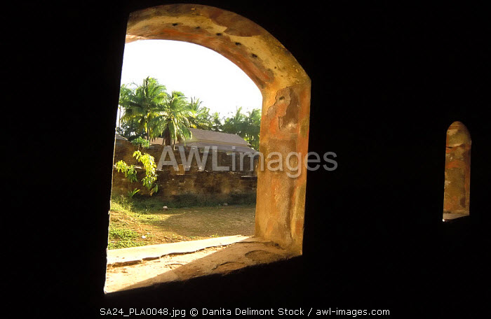 Entrance of a prison block on Ile Royale, French penal colony on Devil's Island, French Guiana