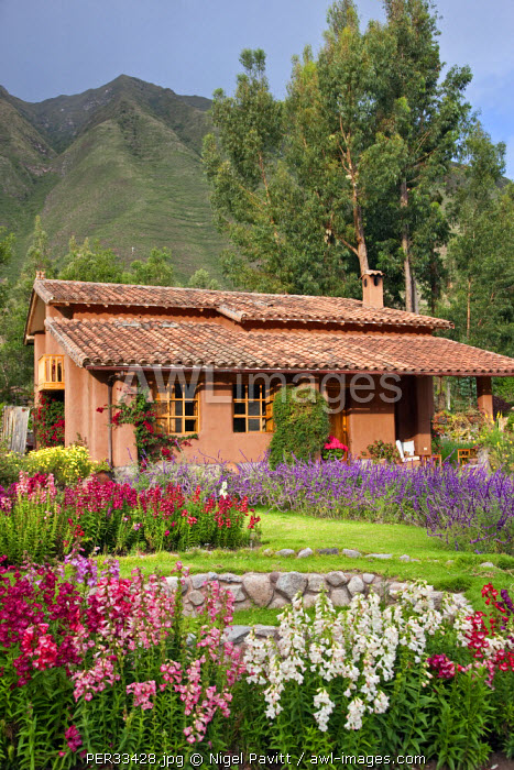 Peru, One of the attractive villas at Urubamba Villas, set in beautiful gardens a short distance from Urubamba.