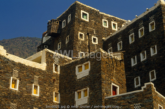Saudi Arabia, Asir, Rejal- al-amaa. Standing in the Asir Mountains and recently part-restored, the village of Rejal al-Maa's traditional masonry buildings show similarities to the architecture of nearby Yemen.