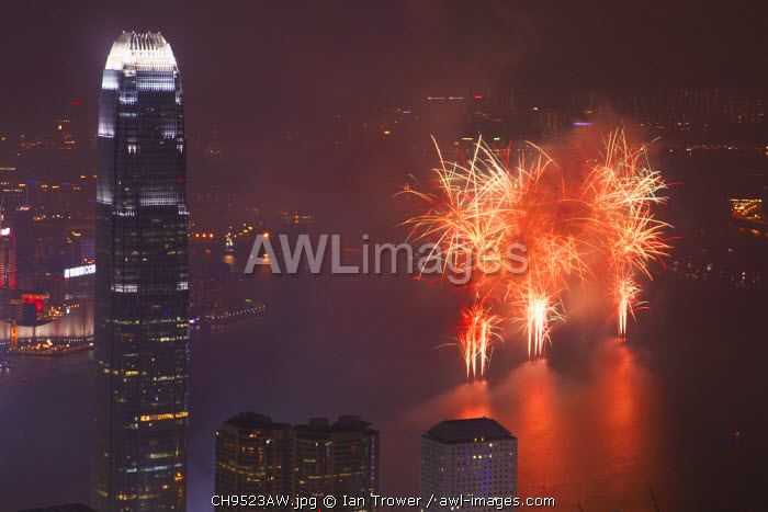 awl-images.com - China / Fireworks in Victoria Harbour on National Day, Hong Kong, China
