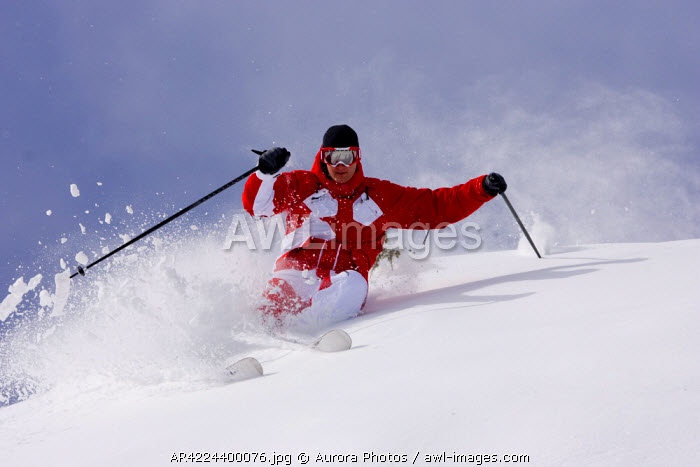 awl-images.com - USA / A young male skiing powder at the Summit at Snoqualmie, Central Cascades, Washington, USA