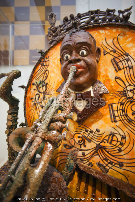 awl-images.com - Spain / Spain, Barcelona, The Chocolate Museum, Chocolate Model Exhibit of Louis Armstrong