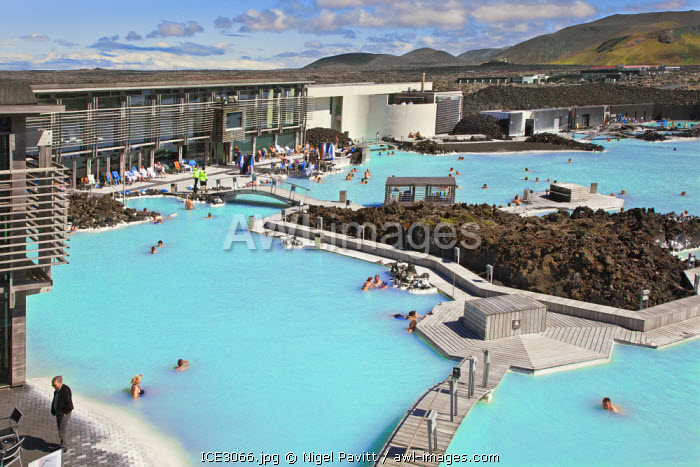 awl-images.com - Iceland / The blue lagoon geothermal spa in southwest Iceland is the island�s most unique and popular attraction. The mineral-rich waters of the large bathing lagoon are maintained at 37-39 degrees C by the nearby geothermal plant, Svartsengi.