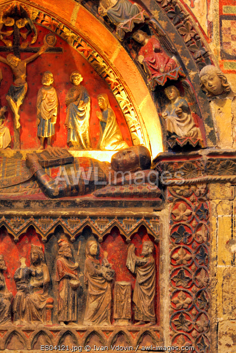 awl-images.com - Spain / medieval tomb in the south transept of Old Cathedral (Catedral Vieja de Santa Maria), Salamanca, Castile and Leon, Spain